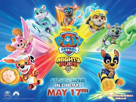 Film picture: Paw Patrol: Mighty Pups (plus Top Wing and Butterbeans Cafe shorts.)